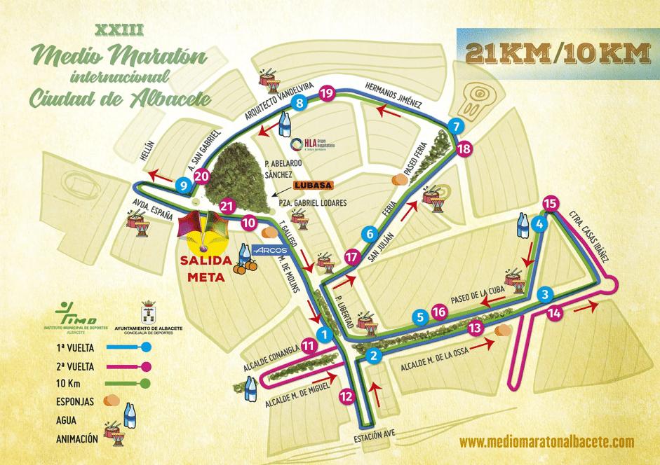 mapa en el que se refleja todo el recorrido urbano del que constan ambas carreras