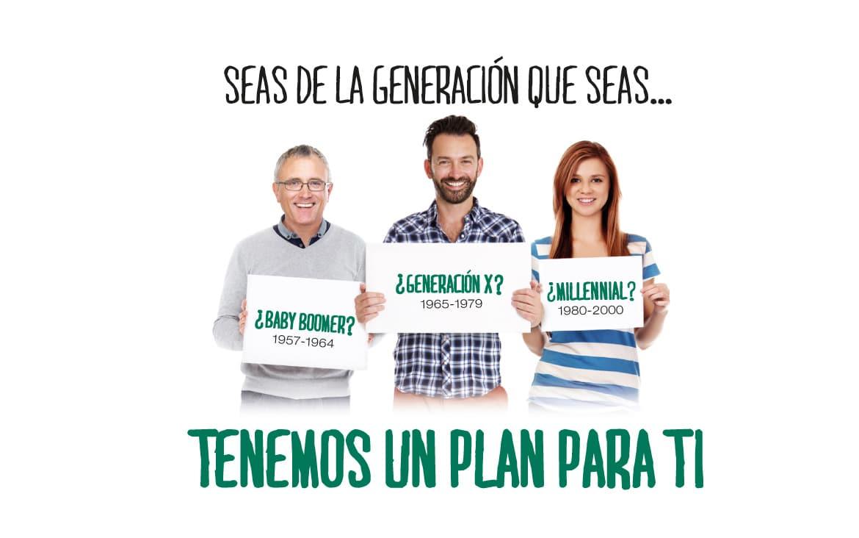 Seas de la generación que seas, tenemos un plan de pensiones para ti