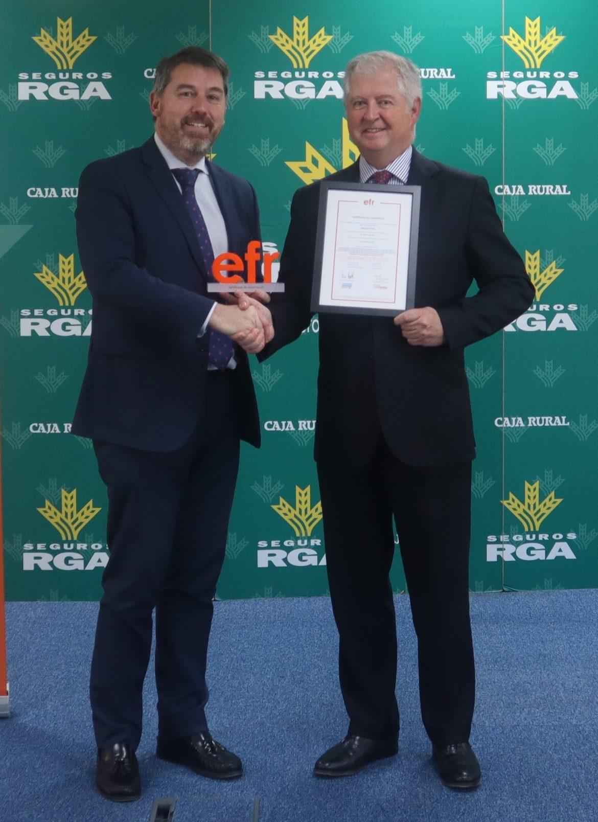 """Seguros RGA, la compañía de Seguros de Globalcaja, obtiene el la Recertificación """"efr"""""""
